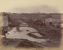 View from N.E. corner looking south [Victoria Dock construction, Bombay].